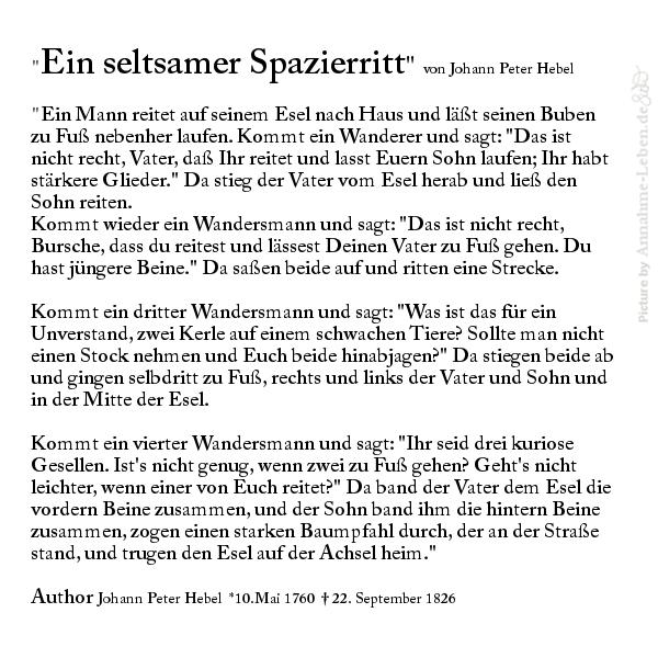 Kurzgeschichte 'Ein seltsamer Spazierritt' von Johann Peter Hebel mit Vater, Esel und Sohn, darüber, warum man es nicht allen recht machen kann.